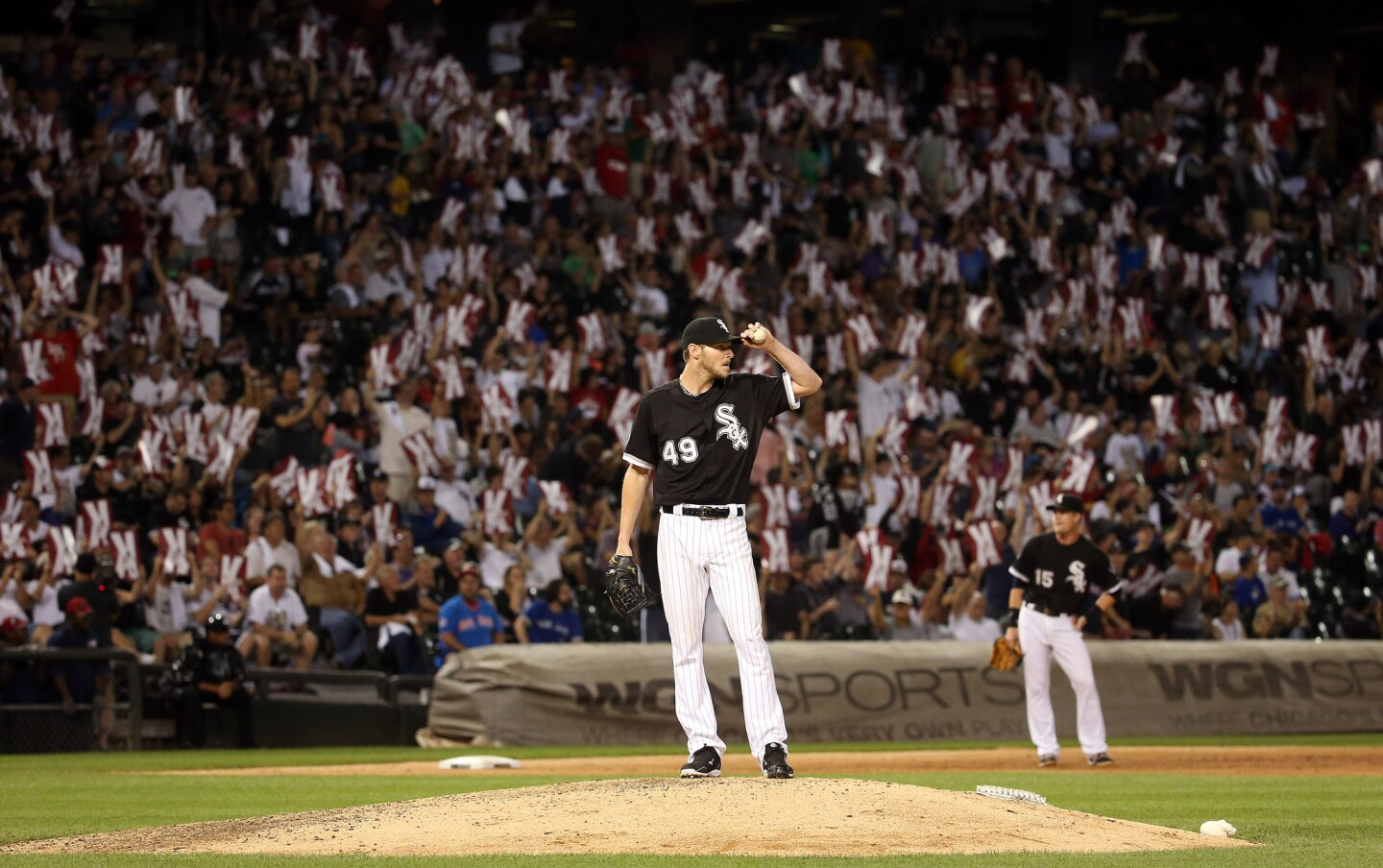 Chris Sale after a strikeout in the ninth inning.