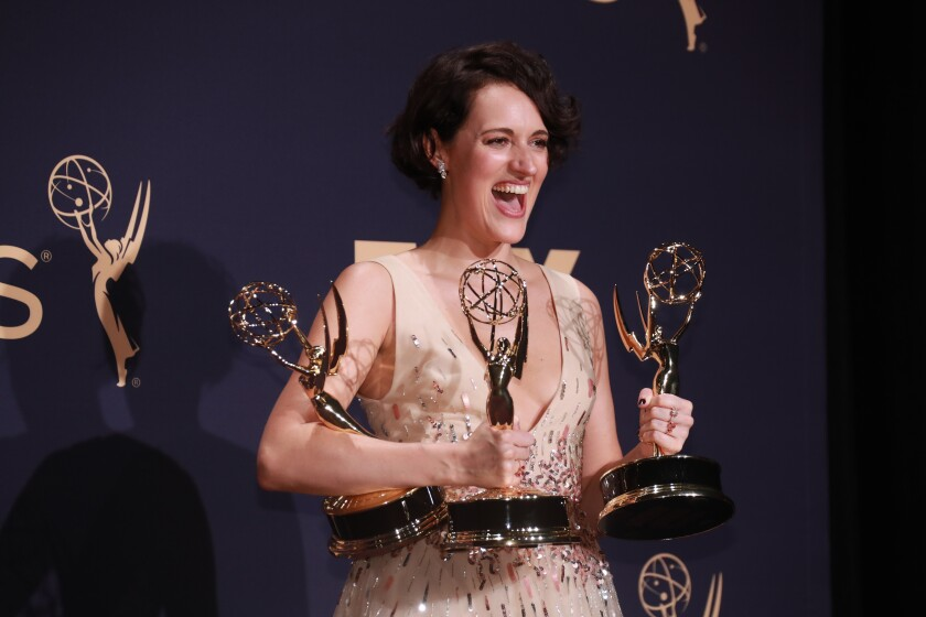 """Phoebe Waller-Bridge with the three of the four Emmys awarded to """"Fleabag."""""""