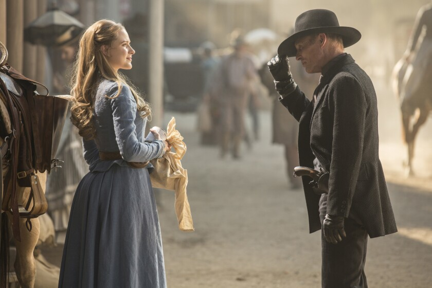 "Evan Rachel Wood and Ed Harris in ""Westworld."""