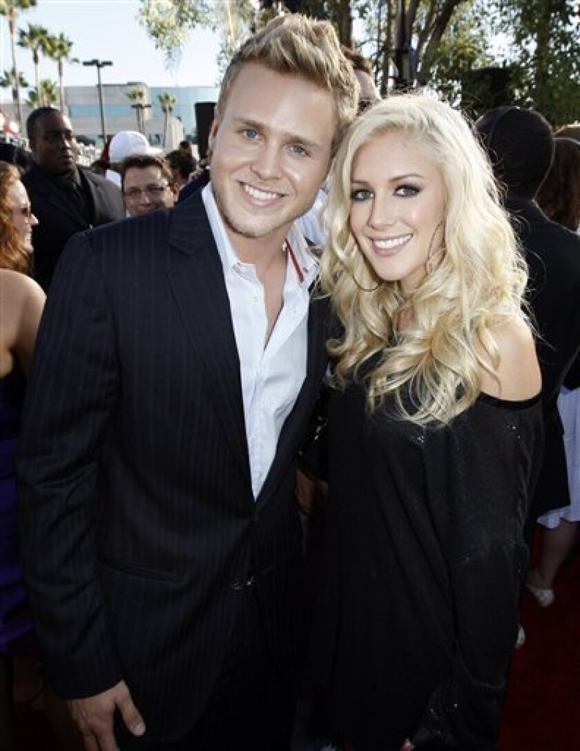 In this Sept. 7, 2008 file photo, Spencer Pratt and Heidi Montag arrive at the 2008 MTV Video Music Awards in Los Angeles. (AP Photo/Matt Sayles, file)