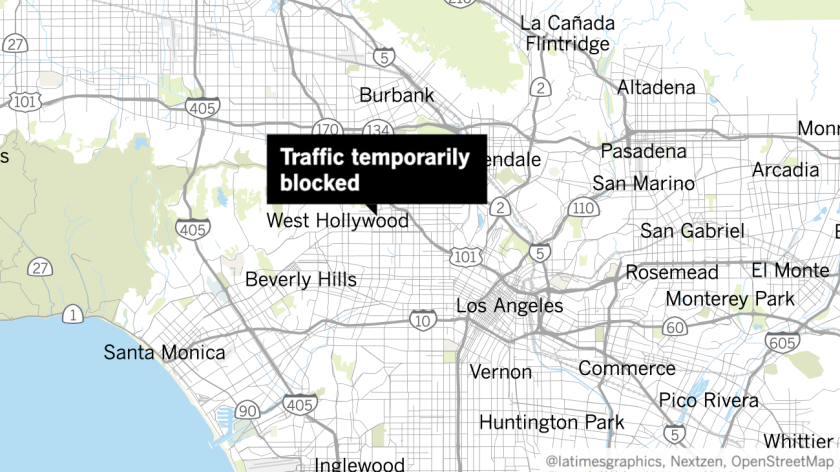 Map with label reading Traffic temporarily blocked pointing to Hollywood area