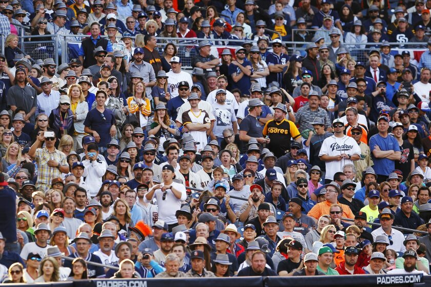 Fans watch during a game between the Padres and Giants in 2017.