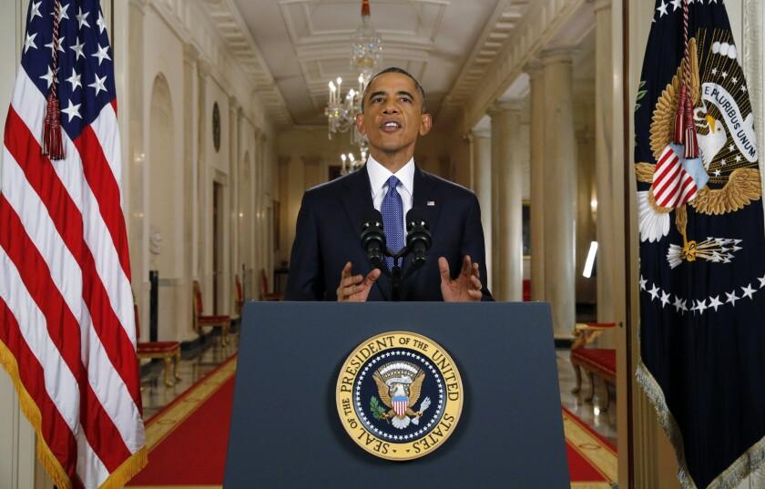 President Obama addresses the nation Thursday from the White House.