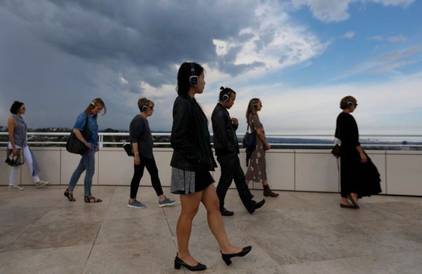 About 80 people participated in a MindTravel event at the J. Paul Getty Museum in May, visiting the museum's galleries, grounds and gardens while listening to original music on headphones.