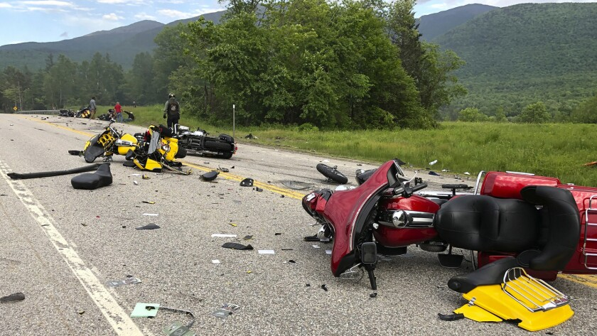 This photo provided by Miranda Thompson shows the scene where several motorcycles and a pickup truck