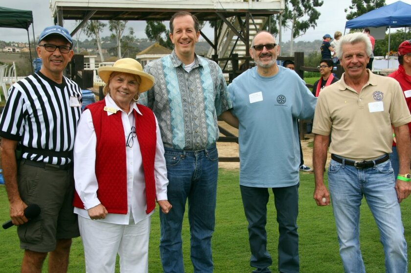 At the Del Mar-Solana Beach Rotary Club Bocce Tournament: Head Referee Paul Butler, Del Mar Deputy Mayor Sherryl Parks, Solana Beach Deputy Mayor David Zito, Solana Beach Councilmember Peter Zahn, and Del Mar Mayor Al Corti.
