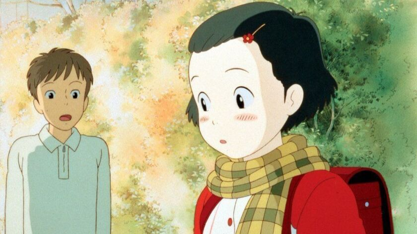 """Shown from left: Hirota (Japanese voice: Yuuki Masuda), 10-year-old Taeko (Japanese voice: Youko Honna) from the movie """"Only Yesterday,"""" written and directed by Isao Takahata."""