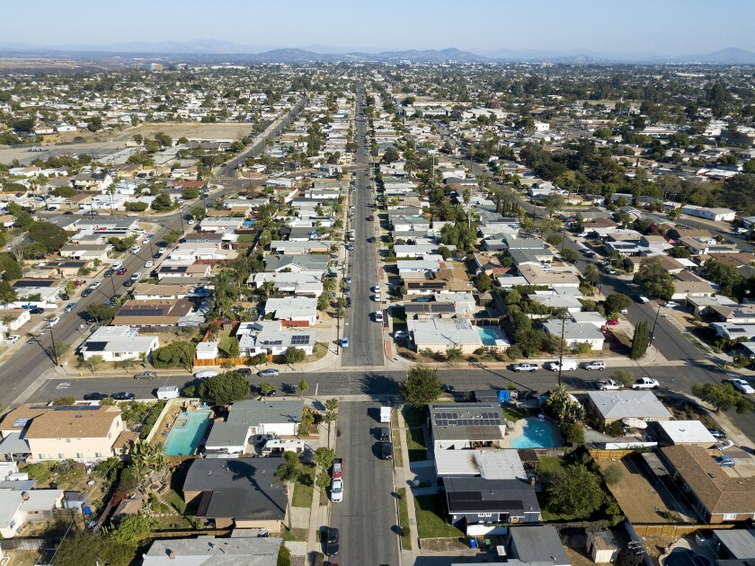 Single-family homes line the streets of Clairemont in 2020.