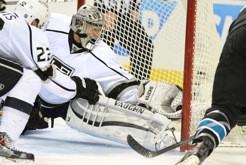 Kings goalie Jonathan Quick makes a save on a shot by San Jose Sharks forward Patrick Marleau during the second period of Game 7 of the Western Conference quarterfinals. The shot was reviewed and was ruled no goal.