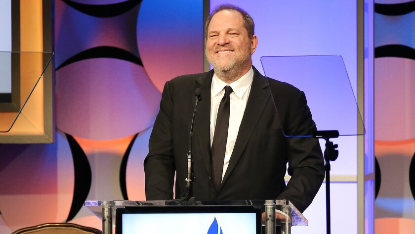 Producer Harvey Weinstein accepts the Humanitarian Award at the Simon Wiesenthal Center 2015 National Tribute Dinner at the Beverly Hilton Hotel.