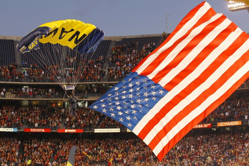 Navy Leap Frogs parachute into SDCCU Stadium before recent Holiday Bowl.