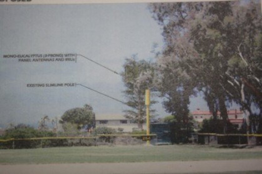 The 'tree' behind the existing cell tower shows the AT&T design for the park.