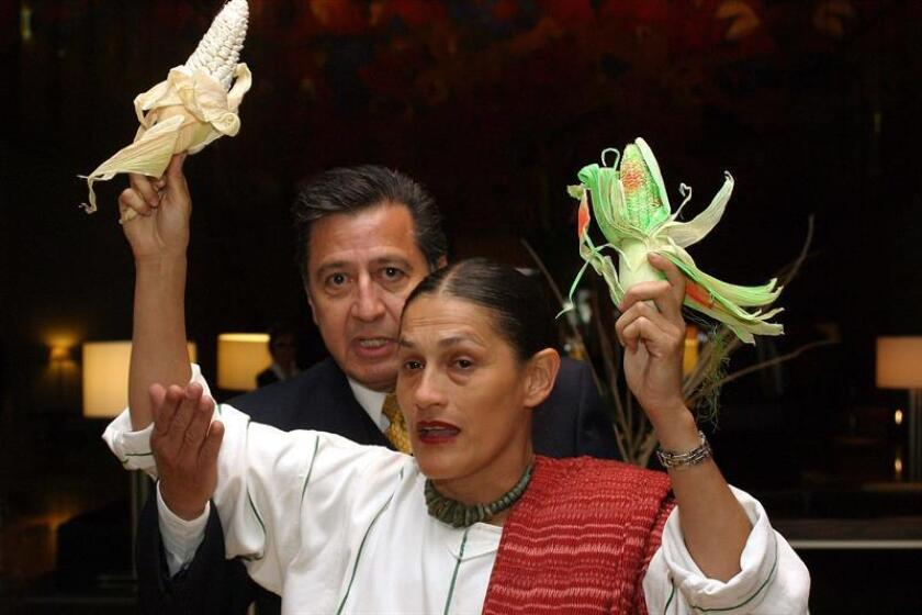 La mexicana activista social, Jesusa Rodriguez, es retirada del interior de la sede de la reunión anual del Grupo Consultivo sobre Investigación Internacional Agrícola (CGIAR, por sus siglas en inglés) que se realizó en la capital mexicana cuando protestaba por el uso del maiz trasgénico, el jueves 29 de octubre junto con campesinos. EFE/Archivo