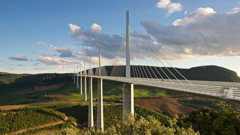 "France's cable-stayed Millau Viaduct is the tallest bridge in the world, rising 1,125 feet into the clouds, from the documentary ""Dream Big: Engineering Our World."""