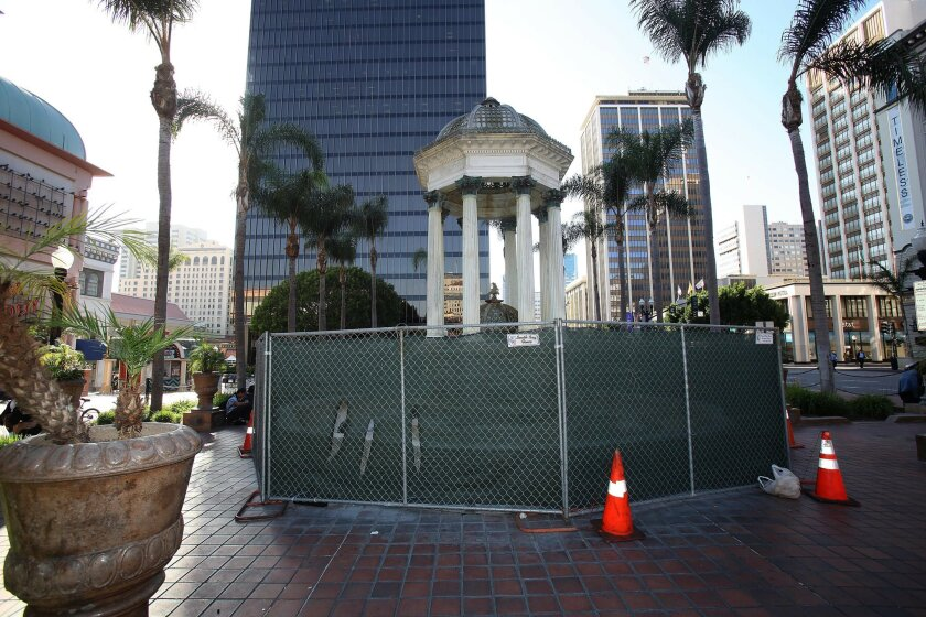 Horton Plaza's historic fountain has been out of commission since 2008.