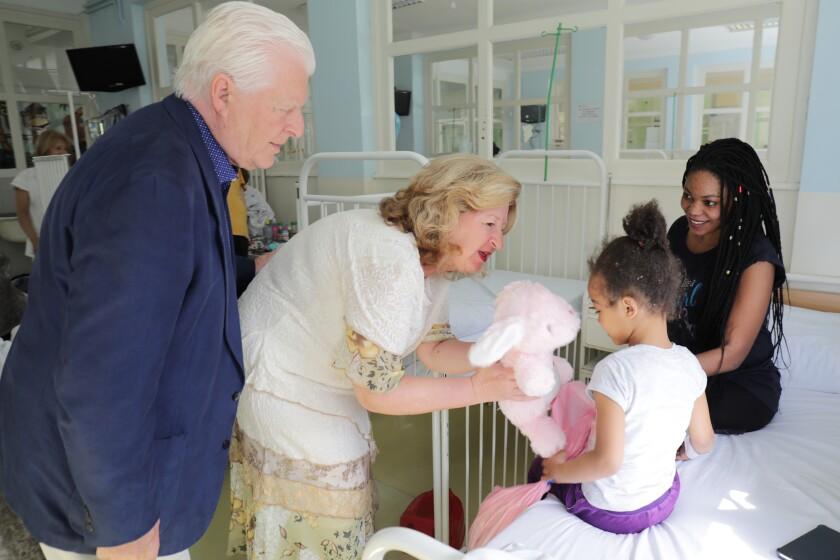 Charles and Linda Van Kessler at a Serbian hospital.