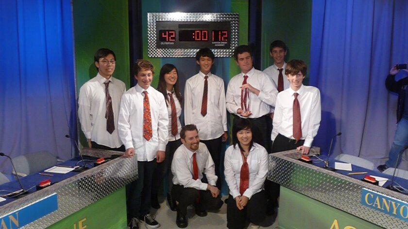 Canyon Crest Academy is the 2012 San Diego County Academic League champion, having defeated Olympian High School, 112-42, Thursday night. It is the Ravens' first county title. Canyon Crest Academy team members are, front row, from left: Coach Brian Shay and Maggie Yang; back row: Raymond Wu, Elijah Granet, Catherine Kang, Michael Chen, Anthony Tokman, Shelief Juarez, and Henry Maltby.