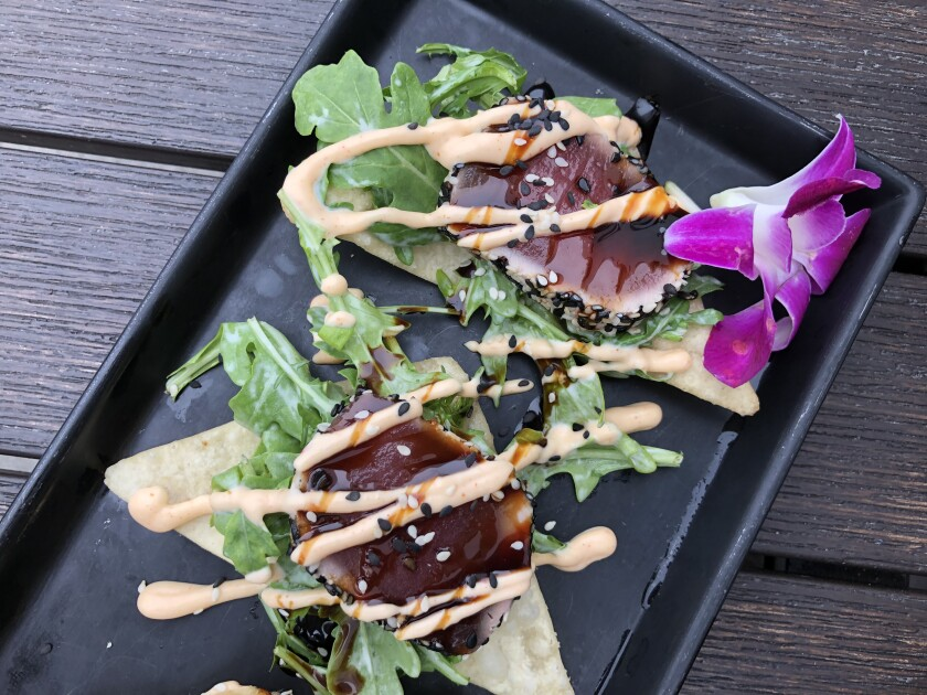 Seared Ahi Wonton Chips at the Switchboard Restaurant & Bar in Oceanside.