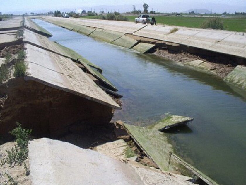 An irrigation canal in the Mexicali Valley damaged in the Easter 2010 earthquake.