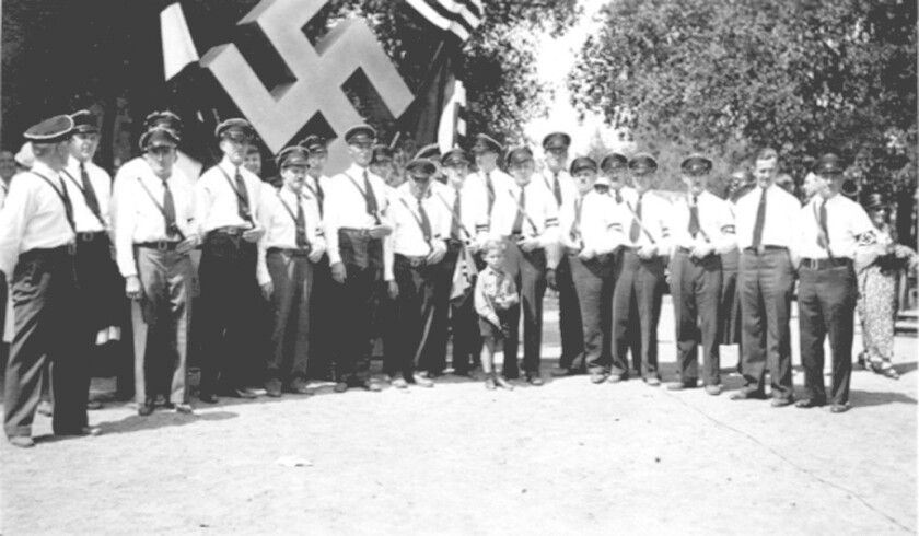 The western side of Crescenta Valley Park, known as Hindenburg Park, gained notoriety in the late 1930s when the Bund, a political group styling itself after the Nazis, staged several rallies there, complete with Swastikas and German military uniforms.
