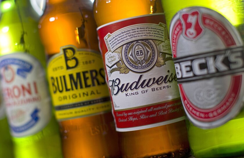 Bottles of beer and cider produced by Belgian-Brazilian group Anheuser-Busch InBev, (Budweiser and Beck's) and British brewer SABMiller (Peroni and Bulmers).