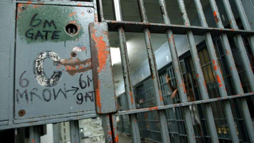 A locked cellblock inside the Los Angeles County Men's Central Jail in downtown Los Angeles in 2004.