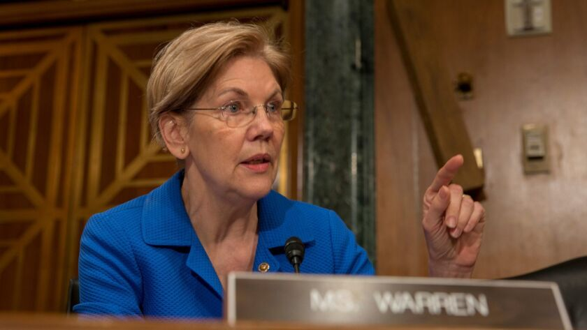 Sen. Elizabeth Warren (D-Mass.), questions Federal Reserve Chairman Jerome H. Powell about Wells Fargo & Co. during a Senate Banking Committee hearing on March 1.