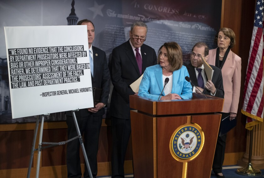From left, Rep. Adam Schiff, D-Calif., ranking member of the House Intelligence Committee, Senate Minority Leader Chuck Schumer, D-N.Y., House Minority Leader Nancy Pelosi, D-Calif., Rep. Jerrold Nadler, D-N.Y., the ranking member of the House Judiciary Committee, and Sen. Dianne Feinstein, D-Calif., the ranking member of the Senate Judiciary Committee, respond to the Justice Department's internal 18-month review of the FBI's handling of the Hillary Clinton email investigation June 14 on Capitol Hill.