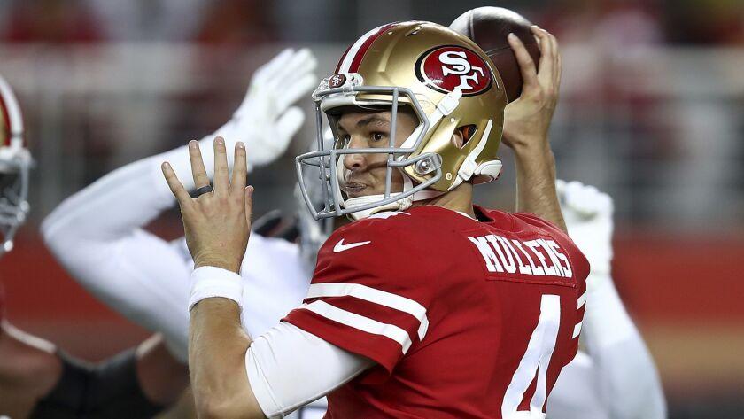 promo code 61c93 85934 Quarterback Nick Mullens has sterling debut in 49ers 34-3 ...