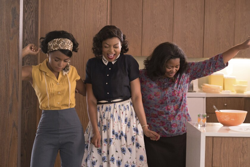 "Janelle Monae, from left, Taraji P. Henson and Octavia Spencer star in a scene from ""Hidden Figures."""
