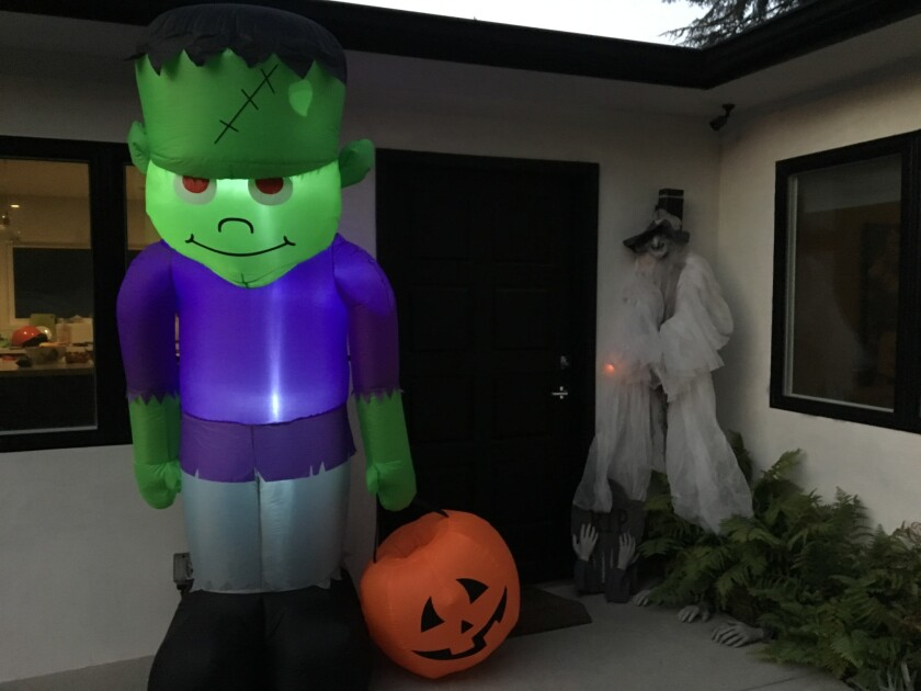 Joymode offers a Haunted House Makeover package that includes an inflatable Frankenstein, a fog machine, lights and a ghoul decoration for $99 to non-members.