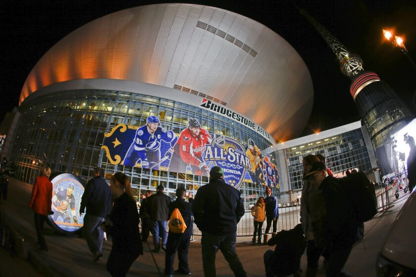 In this photo made with a fisheye lens, pedestrians pass by Bridgestone Arena, Friday, Jan. 29, 2016, in Nashville, Tenn. The NHL hockey skills competition is scheduled to be held at the arena Saturday and the All-Star game is scheduled to be played Sunday, Jan. 31. (AP Photo/Mark Humphrey)