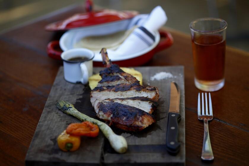 "Pork chop ""Beeler Farm"" at Salazar restaurant."