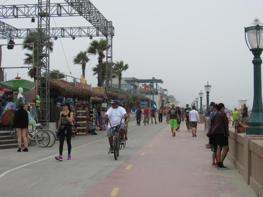 A recent morning along the Mission Beach boardwalk