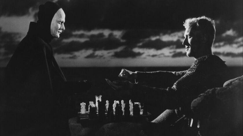 """Director Ingmar Bergman's """"The Seventh Seal"""" stars Bengt Ekerot and Max von Sydow, who is interviewed in """"Ingmar Bergman's Cinema."""""""
