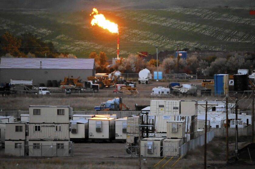 A natural gas flame in Williston, N.D., in 2014.