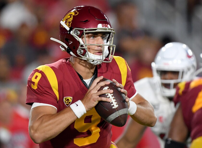 USC freshman quarterback Kedon Slovis will be tasked with leading the Trojans to victory over Stanford on Saturday in his first collegiate start.