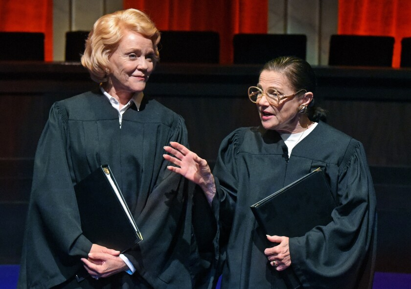"Stephanie Faracy is Sandra Day O'Connor, left, and Tovah Feldshuh is Ruth Bader Ginsburg in ""Sisters in Law"" at the Wallis Annenberg Center for the Performing Arts in Beverly Hills."