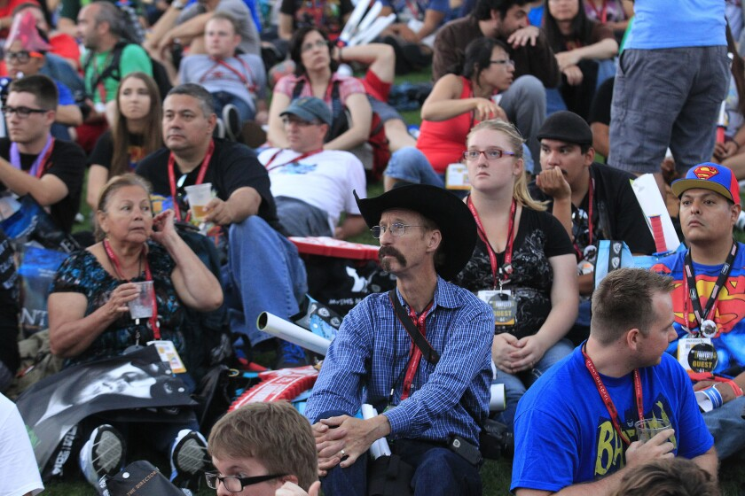 Fans wait for the first-ever mtvU Fandom Awards at Petco Park during Comic-Con International.