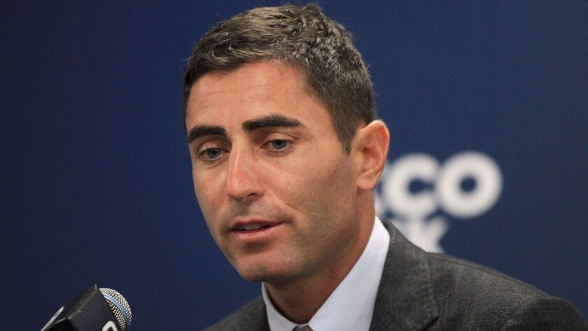 SAN DIEGO, June 24, 2017 | Padres General Manager A.J. Preller during a press conference to introduc