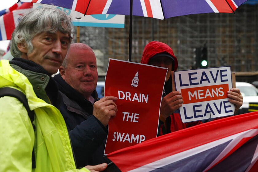 Pro-Brexit demonstrators outside Parliament in London on Oct. 21, 2019.