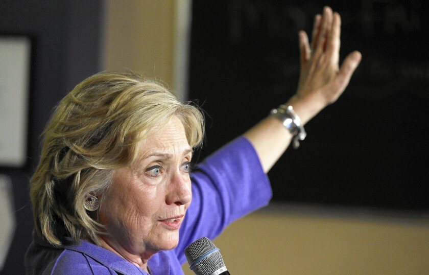 Democratic presidential candidate Hillary Rodham Clinton speaks during a campaign stop in Newton, Iowa, on Sunday.