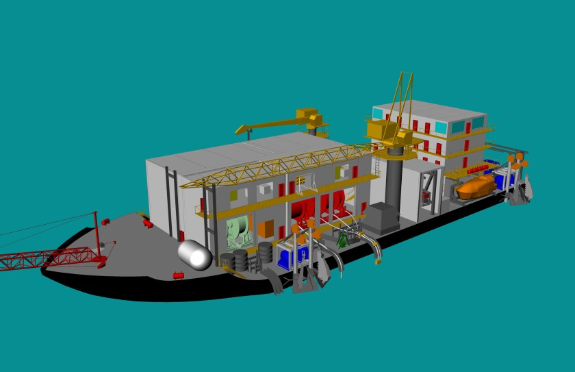An artist's conception of the Arctic Challenger oil spill containment barge.