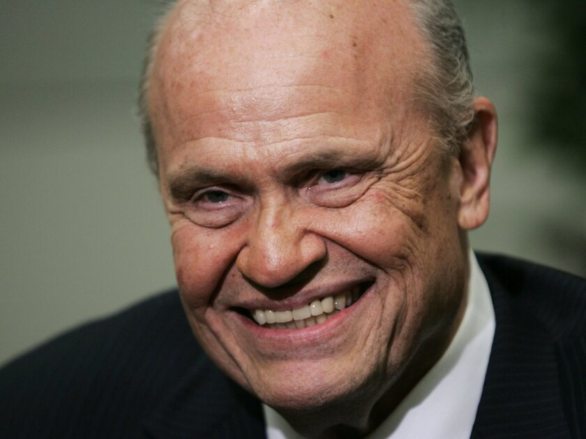 """FILE - In this June 2, 2007, file photo, former Sen. Fred Thompson speaks during an interview with the Associated Press prior to a fund raiser in Richmond, Va. Thompson, a folksy former Republican U.S. senator from Tennessee who appeared in feature films and television including a role on """"Law & Or"""