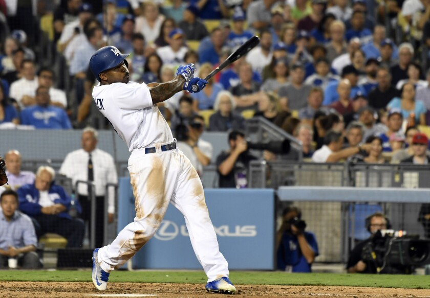 Sep 21, 2016; Los Angeles, CA, USA; Los Angeles Dodgers left fielder Howie Kendrick (47) hits a two-run double during the third inning against the San Francisco Giants at Dodger Stadium. Mandatory Credit: Richard Mackson-USA TODAY Sports ** Usable by SD ONLY **