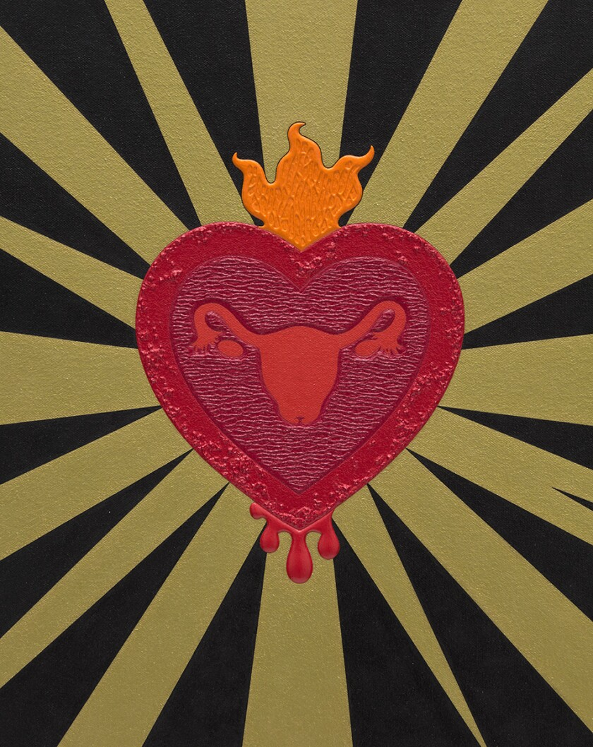A textured painting in black, gold and red shows an image of a Sacred Heart with an endometrium within