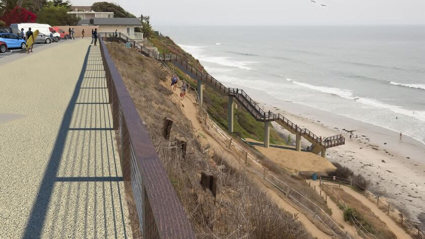 Rendering show the design of a stairway at Beacon's Beach next to the dirt path currently used. The