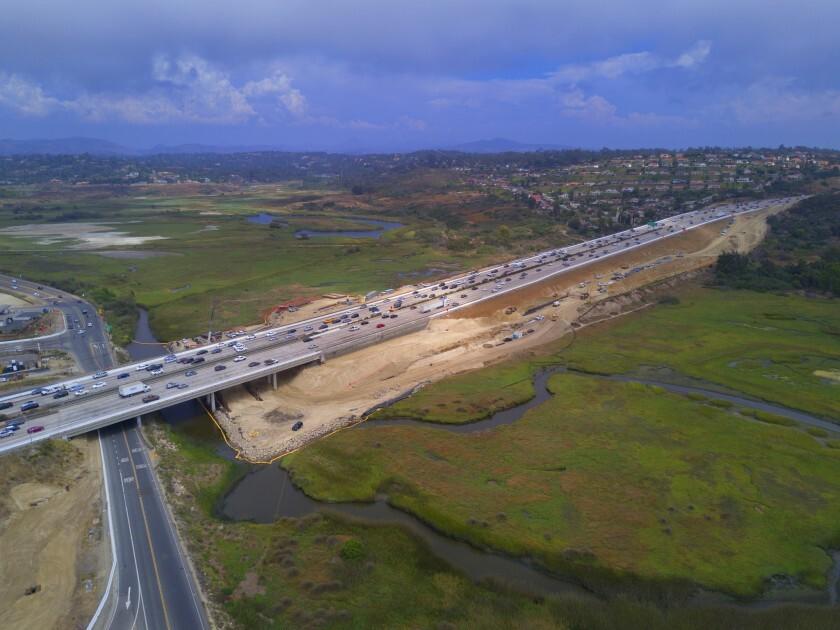 Construction is under way on the new Interstate 5 bridge across the San Elijo Lagoon.