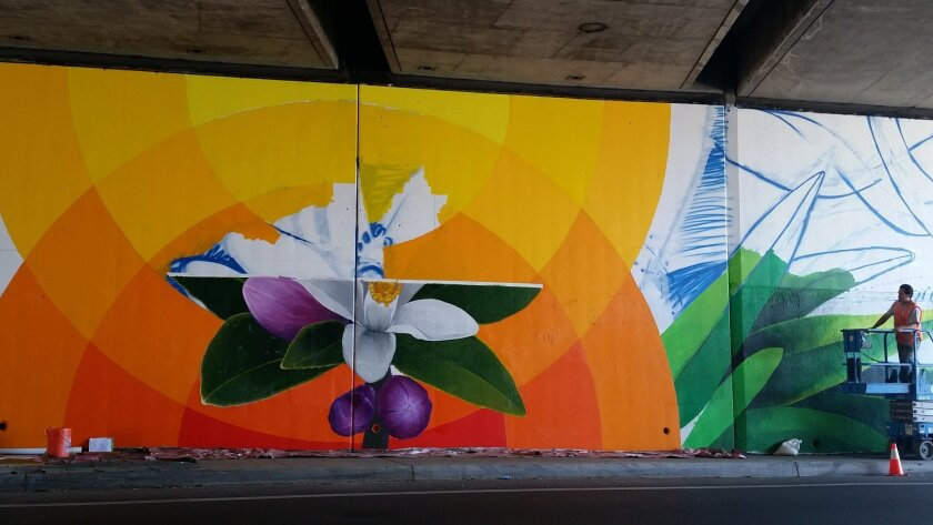 Miguel Angel Godoy looks over part of the mural being worked on inside the Buena Vista Avenue underpass in Lemon Grove.