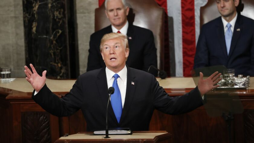FILE - In this Jan. 30, 2018 file photo, President Donald Trump delivers his State of the Union addr